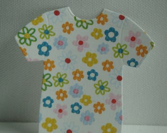 Cut out tee shirt baby paper flowers for scrapbooking and card