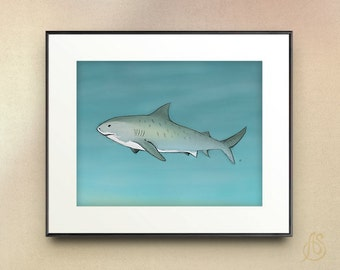 Tiger Shark // nautical ocean sea life // nursery art // Drawing // Illustration // wall art //  8x10 11x14 print