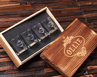 Personalized Shot Glasses (4) with Wood Box Groomsmen, Best Man, Man Cave Gift Barware (024967)