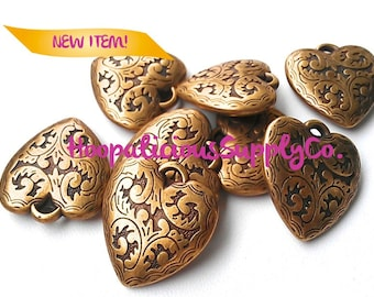 4 Floral Carved Heart Pendants- You Choose Finish: Brass, Copper, Gold, or Silver.- FAST Shipping from USA w/ Tracking 4 Domestic Orders.