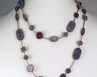 Purple Tone Long Czech Glass Bead Necklace