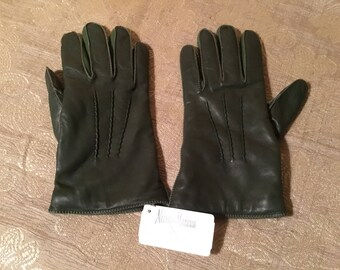 Green Earl Milano Leather Gloves Size 7-1/2