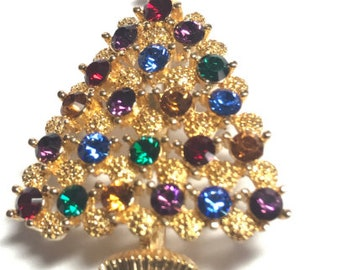 Eisenberg Ice SIGNED Vintage Old New Stock Gold Pink Tear Drop Rhinestones Christmas Tree Pin Brooch Made in USA
