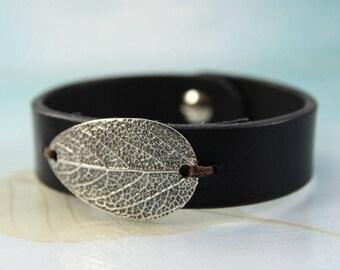 Silver Leaf Bracelet | Sage Leaf - Leather Bracelet | Men Leather bracelet Women | Leather Cuff