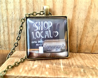 Shop Local Pendant Necklace Gift Unique Birthday Gift Industrial Whimsy Small Business Owner Farmers Market