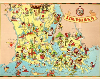 1930's Vintage Louisiana Picture Map State Cartoon Map Print Gallery Wall Art Map Collector Gift for Traveler Wedding Birthday Gift RT