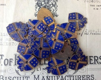 Antique Pair English Copper Royal Blue Enameled Heraldic Shields Crest Finding Jewelry Supplies Plaque