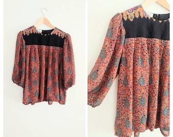 Vintage 1970s 70s Semi Sheer Boho Hippie Print Flared Billowy Top Shirt Blouse