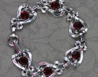 Vintage Shiny Silver Tone Ruby Red Rhinestone Heart Linked Bracelet