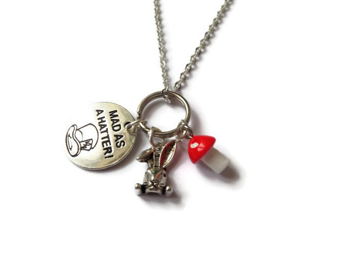 """Alice in Wonderland inspired 20mm """" mad as a hatter """" 24"""" silver tone 3 charm necklace Mad Hatters Tea Party fan gift jewellery Uk"""