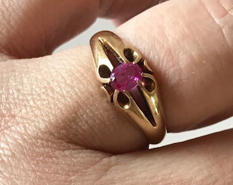 Victorian gypsy ring, 18K gold, pink sapphire
