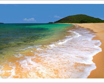 beach photo, color photo note card, blank inside, beach, the big beach, maui, hawaii, beach scene, ocean, beach card, sand and waves