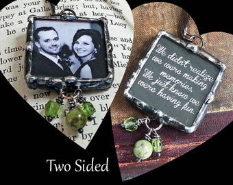 Photo Bookmark, Personalized Soldered Charm, Memory Glass Charm, Picture Frame Pendant, Wedding or Engagement Photo