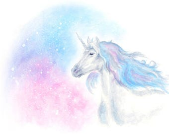 unicorn art print, unicorn print, unicorn gift, unicorn nursery, unicorn poster print, unicorn watercolor, unicorn art, fantasy art, pastel