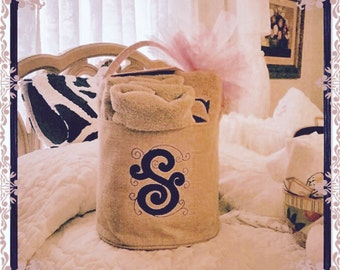 Burlap Buckets, Personalized Burlap Bucket