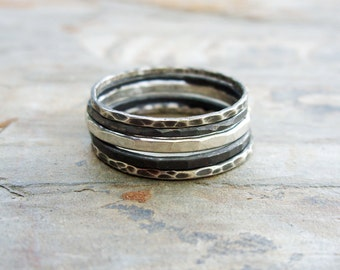 Set of 5 Mixed Antiqued Sterling Silver Stacking Rings - Black White and Gray Ombre Stacking Set