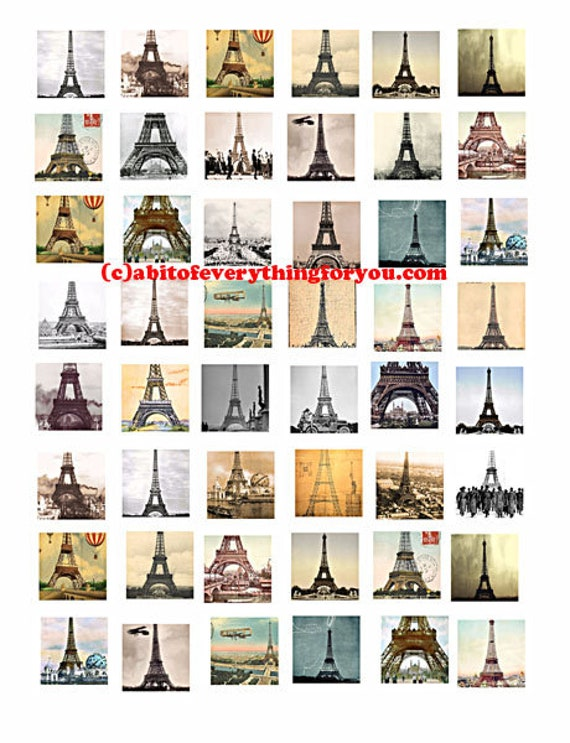 Eiffel Tower Paris france collage sheet printable 1 inch squares clip art digital download graphics images  travel art craft pendant pins