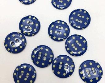 30 pcs of Polka Dot Button Pastel Yellow on Dark Blue  - 18mm LAST SET