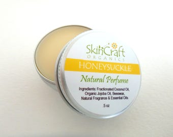 Honeysuckle Perfume - Solid Perfume -  Natural Honeysuckle Perfume - Natural Honeysuckle Fragrance - Beautiful Gift for Women .5 oz Tin