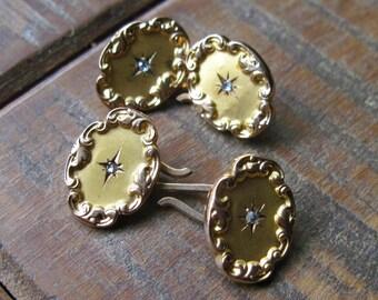 Antique Victorian / Edwardian Diamond Cufflinks - Rose Cut Diamonds - 10KT - 12KT Gold - Antique Jewelry