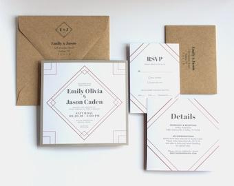 Printable Geometric Diamond Wedding Invitation Suite - Art Deco Wedding - Square Wedding Invitation - Customized Printable Square 6x6