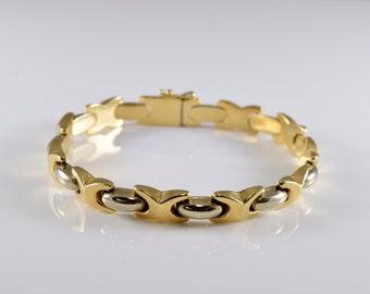 14K Yellow Gold Two Tone Link Bracelet