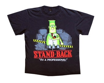 Vintage Dilbert Stand Back I'm A Professional Black T-Shirt 90's Tech Computer Humor Internet Office Work IT Changes