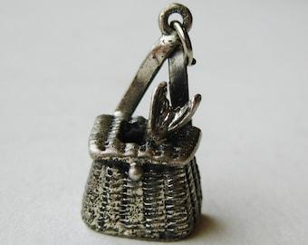 Vintage Charm Sterling Silver 3D Fishing Creel Basket Bracelet Charm