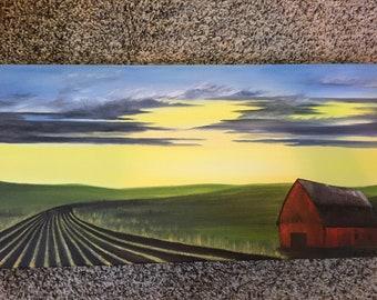 Summer evening farm field