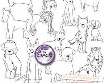 Dogs Digital Stamps, Puppy graphics, Dog Digital Graphics, Dog Clip Art, Hand Drawn Dog Clip Art, Dogs sketches, Dogs clipart, Dogs drawing