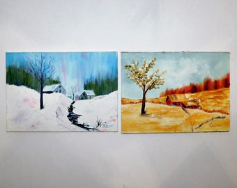 Set of 2 (5 x 7) Oil Paintings, Fall Country Scene, Winter Country Scene, Signed P Wellman, Canvas Oil Paintings