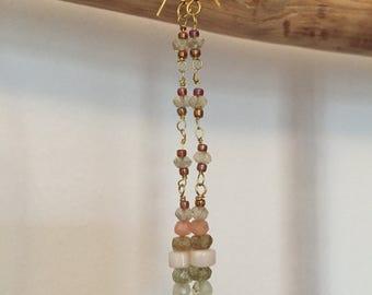 Earrings dangling gemstones