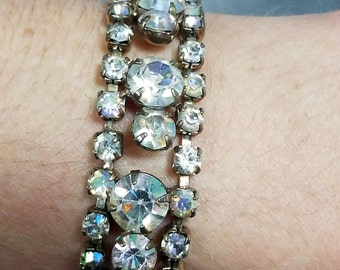 1950s AB bracelet, rhinestone, aurora borealis, glamour, wedding, bridal