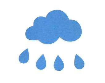 Paper Cloud and Raindrops Die Cut Set of 20