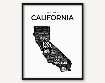 California Print, California Map Print, California Poster, California State Decor, California Art, Black and White California Wall Art