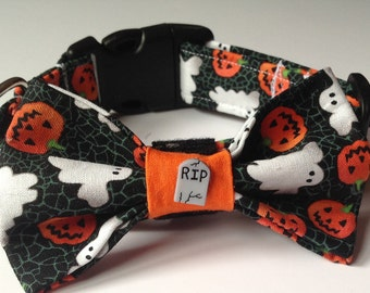 Halloween Bow Tie Collar for Male Dogs and Cats- Ghosts and Pumpkins