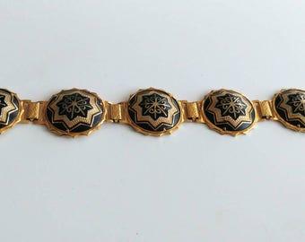 Vintage Damascene style panel bracelet