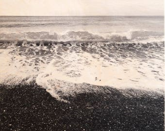 Italian Holiday, 'Al Mare' Limited Edition, Image Transfer on Wood Panel by Patrick Lajoie, photo art block, italy photography, beach,b&w