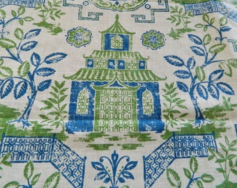 Richloom Teahouse Green/Blue-Decorative Throw Pillow Cover Euro Pillow Cover / Asian / Chinoiserie / Pagoda / Both Sided