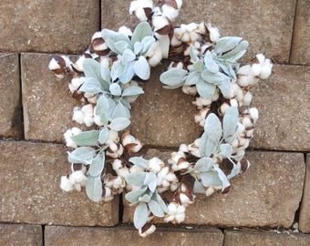 Lambs Ear & Cotton wreath - Cotton boll Wreath - Preserved cotton Wreath -Lambs Ear -Candle Wreath -Wedding Wreath - Cotton bolls