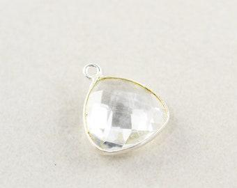 Sterling Silver Clear Quartz Charm, Silver Gemstone Triangle Charm, 15mm Stone Charm, One