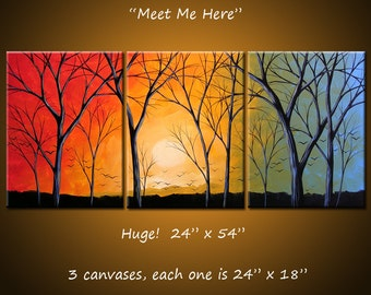 Extra Large Wall Art Triptych Art Landscape Original Large Painting Modern Trees / Amy Giacomelli / Tree art / Sunset art