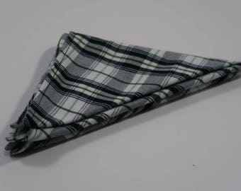 Soft Cotton White Green Black Plaid Pocket Square