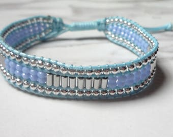 Single Wrap Bracelet Handcrafted  Blue White Beads Jewelry 1092