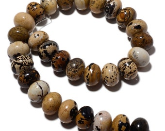 Picture Jasper Beads, Picture Jasper Rondelles, 18mm Beads, 15 Inch Strand, SKU-MM35