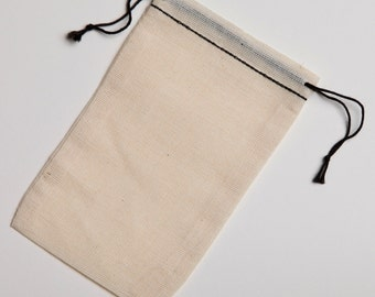 100 3.25x5  Black Hem and Black Cotton Muslin Double Drawstring Bags