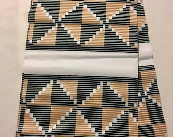 African Fabric - by the yard - Wax/Dutch - tan, hunter green, white - geometric pattern