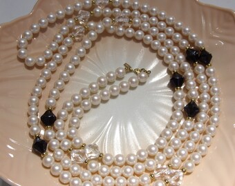 MONET Long Pearl and Black and Clear Bead Necklace