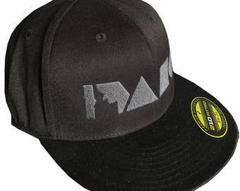 Geo Idaho Hat- Fitted Flat Bill -BANANA ink