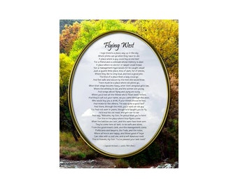 Flying West Poem, Digital Full Color Photo Print, Tribute to a Pilot Who Has Passed Away